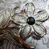 Vintage Silver Flower Brooch, Sara Coventry Black Beauty, Rhinestone, Daisy,or Dogwood Flower Pin