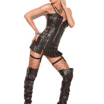 Leather zip front corset with buckle detail, boning, and  adjustable and detachable straps Leather back with lace up  detail Adjustable and detachable garters  Black