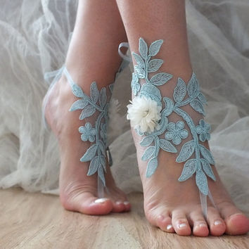 Blue ivory 3D lace wedding barefoot sandals french lace sandals, wedding anklet, Beach wedding barefoot sandals,