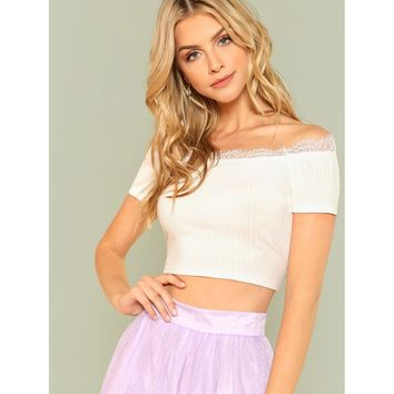 Eyelash Lace Insert Crop Bardot Top