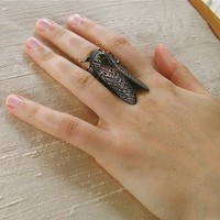 Steampunk Ring BLACK Cicada by MadArtjewelry on Etsy