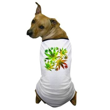 MARIJUANA CANNABIS LEAVES PATTERN DOG T-SHIRT