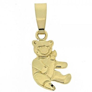 Gold Layered 5.183.007 Fancy Pendant, Teddy Bear Design, Polished Finish, Golden Tone