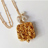 SALE 60 OFF Gold Druzy Necklace, Gold Titanium Pendant, 14kt Gold Fill,  Wire Wrapped Keishi Pearl