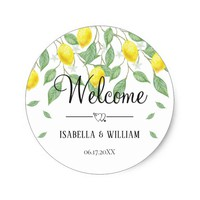 Modern Lemon Boho Summer Wedding Welcome Classic Round Sticker