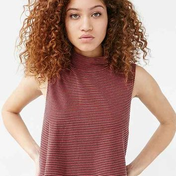 Truly Madly Deeply Striped Mock-Neck Button Back Tank