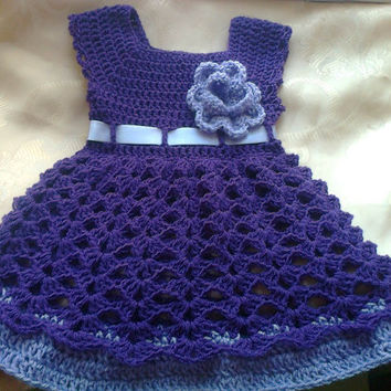 Baby  Dress in Purple , Baby Clothes,  Child frock, Infant Clothes, Crochet Baby Dress, Infant Dress