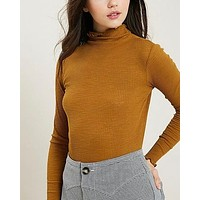 long sleeve ribbed mock neck knit top - mustard
