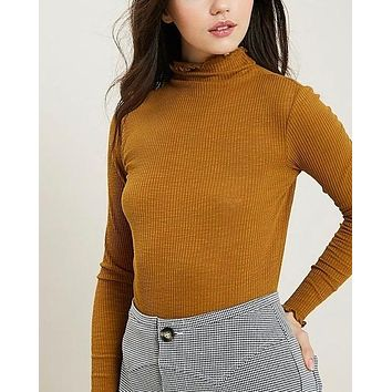 ribbed mock neck knit top - mustard