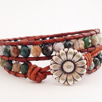 Multi Color Beaded Leather Wrap Bracelet