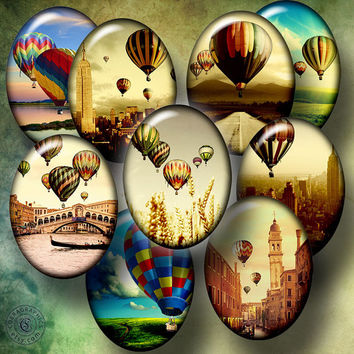 Hot Air Balloons - 18x15mm, 13x18mm ovals - Printable Images - Digital Collage Sheets CG-567O - for Cameos, Cabochons, Arts, Crafts
