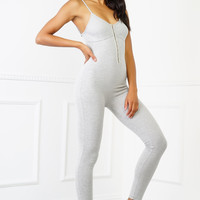 Sammy Ribbed Jumpsuit - Grey
