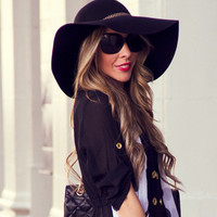 Floppy Wool Boho Hat - Black (Final Sale)