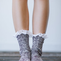 Lace Trim Socks, Ankle Socks, Fashion, Boot Socks, Heathered Cable Knit Women's Short Socks, Cute Women's Socks Plum  (BS-27)