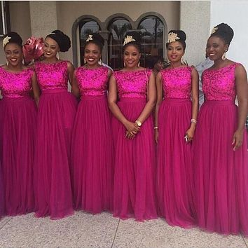 Sparkly Rose Red 2016 A-Line Formal Bridesmaid Dresses 2017 Sleeveless Long Tulle Wedding Party Gowns Custom Made Plus Size