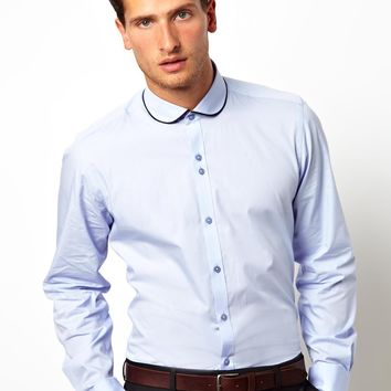 Red Eleven Shirt Slim Fit Penny Collar Pale Blue -