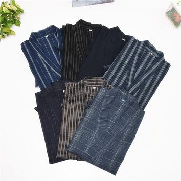 Men Yukata Kimono Pajamas Set Top Pants Tracksuit Cotton Japanese Short Sleeve