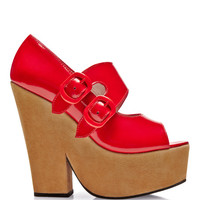 Glossy Leather and Suede Platform Wedges by Carven - Moda Operandi