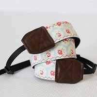 Blue Floral Embroidery Pattern Handmade Camera Strap 052809 S0607