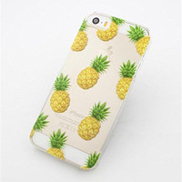 2017 new Novelty Pineapple Fruit Patterns Transparent Hard Phone Back Case Cover For Apple iPhone 5 5S 5C 6 6plus EC504/EC505