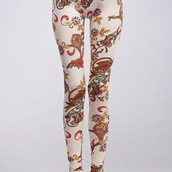 Women Sexy Paisley Floral Print High Waist Stretch Cotton Leggings Ankle Tights