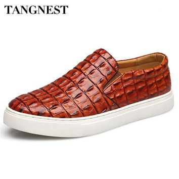 Tangnest Men's Shoes 2017 Soft Hand-made Leather Loafer Male Round Toe Platform Flat New Design Flats Man Size 38~47 XMR1883