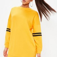 Missguided - Yellow Dropped Shoulder Stripe Trim Sweater Dress
