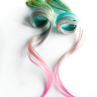 Rainbow Human hair extension, hair extension, purple, blue, pink, green, blonde clip in // hair // Tie Dye Colored Hair // Rainbow Twist