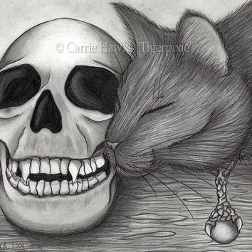 Black Cat Drawing Witch's Black Cat Art Vampire Skull Dragon Clow Gothic Cat Art Fantasy Cat Art Print 8x10 Cat Lovers Art