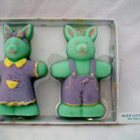 Green Bunny Rabbit Candles Easter Home Decor Whimsical Animal Lover