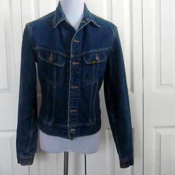 Vintage Lee Denim Jacket, Hipster Grunge Jean Jacket, Unisex Teens Men Women, Made in USA, Small Medium
