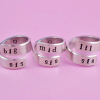 big sis/mid sis/ lil sis  - Spiral Rings Set, Hand Stamped, Newsprint Font, Shiny Aluminum, Forever Love, Friendship, BFF