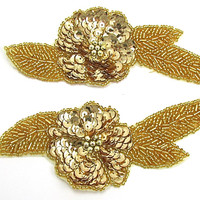 "Flower Pair with Gold Sequins and Beads 5.5"" x 3"""