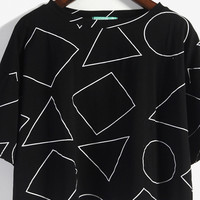 Geometric Shaped Short-Sleeved T-Shirt