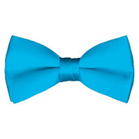 Solid Pre-Tied Turquoise Blue Bow Tie