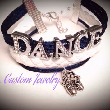 DANCE Rhinetone Cord Bracelet w/ Dance Shoes - Customize by choosing a different Charm; Dance, Hockey, Sport Mom, Music, sports