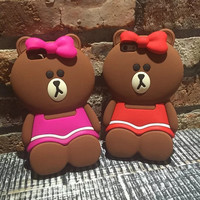 Newest Lovely 3D Cute Soft Silicone Teddy Bear Back Case Cover For iphone 6 6S 6+ iphone6 plus 5 5S SE Phone Case Capa Cover -0402