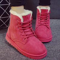 Fashion Winter Women Flat Lace-Up Warm Snow Ankle Boots Red