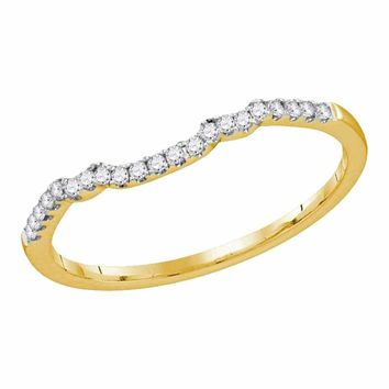 14kt Yellow Gold Women's Round Diamond Contoured Slender Wedding Band 1-10 Cttw - FREE Shipping (US/CAN)