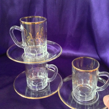 Italy Espresso Glass Demitasse Cups with Saucers, Gold Design Pattern, 3 Ounce Shot Mugs, Set of Three Vintage 1960s, 70s