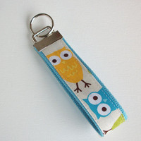Key FOB / KeyChain / Wristlet  - Urban zoo owls on blue