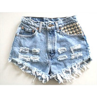 ANY COLOR Ripped Frayed Denim HighWaisted Shorts by UniversalShop