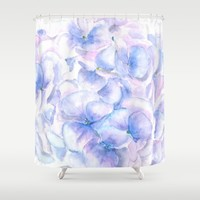blue purple pink hydrangea Shower Curtain by Color And Color