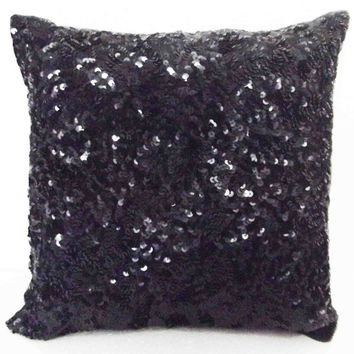 black pillow sequin pillow throw pillow home and living wedding gift sparkly silk sofa pillow decor and housewares exotic decorative pillow