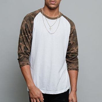 Men's Baseball T-Shirt TS900 (White/Olive Camo) - B12C