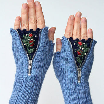 Fingerless Gloves, Gloves & Mittens, Gift Ideas, For Her, Winter Accessories, Blue, Roses,Fashion, Women, Accessories, Spring Celebrations