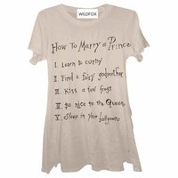 Wildfox Couture How To Marry A Prince Crew Neck Tee in Fawn