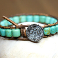Turquoise Bohemian beaded leather wrap bracelet, hipster, blue, green, Boho Luxe, stacking, rustic look