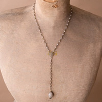 Mid-length Stone Rosary Style Necklace