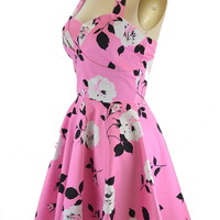 50s Style Pink & Black Floral TRAVELING CUPCAKE TRUCK Dress w/HALTER Petal Bust